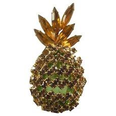 Vintage Alice Caviness Rhinestone Pineapple Pin