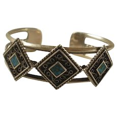 South Western Sterling Turquoise Cuff Bracelet