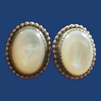 Vintage South Western Sterling Silver MOP Earrings