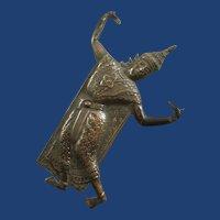 Large Vintage Siam Silver Dancer Brooch