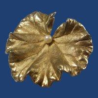 Vintage Napier Sterling Vermeil Leaf Brooch
