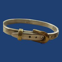 Heavy Vintage Sterling Silver Mexico Adjustable Buckle Bangle