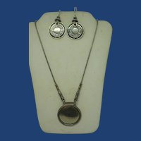 Signed Didae Sterling Silver Discs Necklace and Earrings