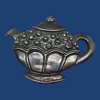 Vintage Sterling Silver Tea Pot Brooch