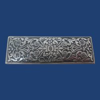 Large Vintage 835 Silver Chased Brooch