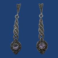 Sterling Amethyst Marcasite Post Earrings