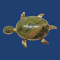 14k Carved Scarab Turtle Brooch