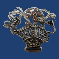 Sterling Marcasite Garnet Flower Basket Brooch