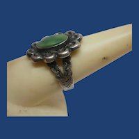 Vintage Navajo Heavily Stamped Green Turquoise Silver Ring ~ Adjustable