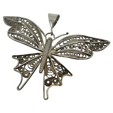 Vintage Sterling Silver Filigree Butterfly Pendant