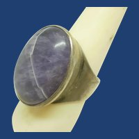 Gorgeous Large Amethyst Sterling Silver Statement Ring ~Adjustable