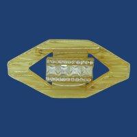 Vintage Tested Apple Juice Bakelite Rhinestone Brooch