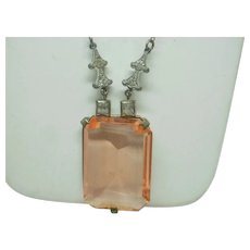 Art Deco Large Pink Glass and Paste Necklace