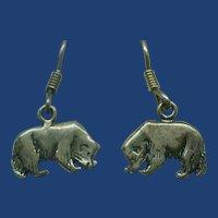 Artist Marked Sterling Silver Badger Earrings