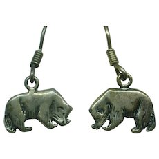 Artist Marked Sterling Silver Badger Earrings