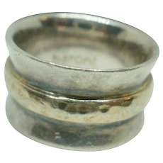 Artist Marked Sterling Hammered Gold Filled Wide Band
