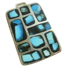 Vintage Turquoise Inlay Sterling Silver Fob/Pendant Double Sided