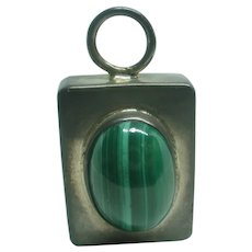Solid Sterling Silver Malachite Fob Pendant ~ 9 Grams