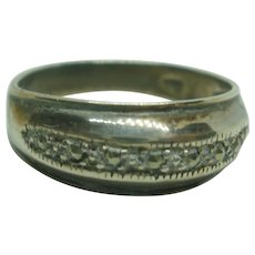 Vintage Sterling Marcasite Wedding Band Style Ring ~9