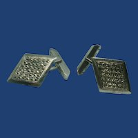 Vintage Sterling Silver Marcasite Cuff Links