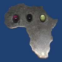 Vintage Map of Africa Sterling Silver Gem Stone Pendant