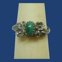 Vintage Navajo Malachite Sterling Silver Ring~6 1/2