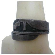 Artist Marked Vintage Hopi Sterling Overlay Wrap Ring -8