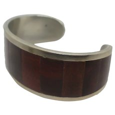 Vintage Mexico Silver Cherry Wood Cuff Bracelet