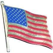 14K Gold & Enamel US Flag Tie Tack
