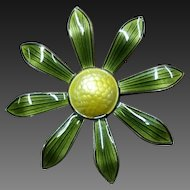 Aksel Holmsen Green Flower Brooch