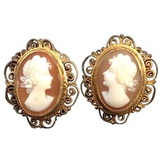 800 Silver Filigree Shell Cameo Earrings