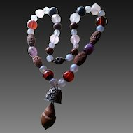 Chinese Necklace Amber Carved Pit Bamboo & Stone