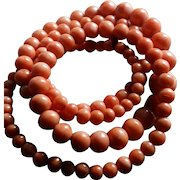 Victorian Coral Graduated Beads Necklace