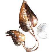 Renoir Matisse Copper Enamel Leaf Brooch