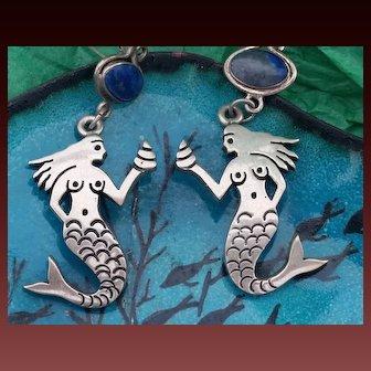 Sterling Silver Mexican Mermaid Earrings