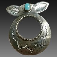 Silver & Turquoise Navajo Brooch Glasses Holder