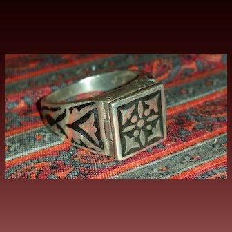 Sterling Silver Black Enamel Poison Ring