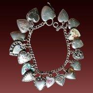 Sterling Puffy Heart Charm Bracelet Enamel Walter  Lampl too