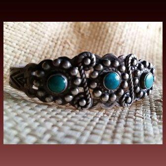 Silver & Turquoise Navajo Bracelet Mid-Century 3 stones