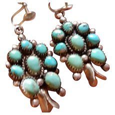 Old Turquoise & Silver Squash Blossom Earrings