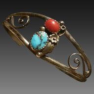 Southwestern Silver Coral Turquoise Bracelet