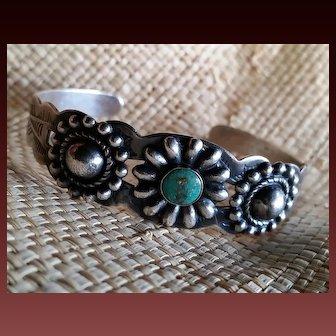 Silver & Turquoise Navajo Bracelet Mid-Century