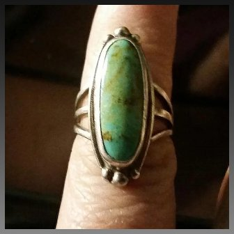 Turquoise & Silver Navajo Ring sz 4¾