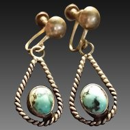 Older Turquoise & Silver Pendant Earrings