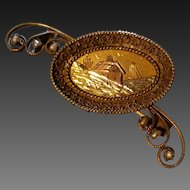 Victorian mixed metal Gold Filled Scenic Brooch