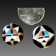 Zuni Stone Inlay Mask Earrings