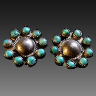 Turquoise & Silver Traditional Zuni earrings