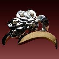 14k White Gold & Diamond Retro Ring