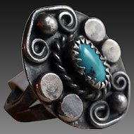 Hand Wrought South Western Silver Turquoise Ring