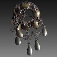 830 Silver Traditional Wedding Solje Brooch w/ gilt Spoon detail